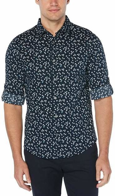 Untucked Roll Sleeve Floral Shirt