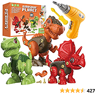 Fundia Take Apart Dinosaur Toys for Kids, 3 Pack Dino Set Kids Learning Toys with Electric Drill for 3-7 Year Old Boys and Girls Birthday Gifts , STEM Toys for 3 4 5 6 7 Year Old Boys and Girls