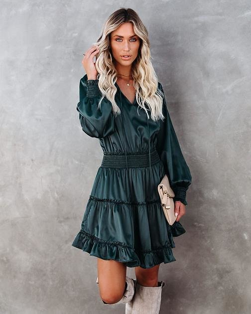 Let Me Love You Satin Tiered Ruffle Dress - Dark Teal - FINAL SALE