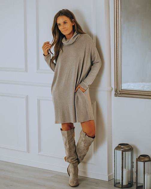 Cannon Pocketed Cowl Neck Thermal Knit Dress - Portabella - FINAL SALE