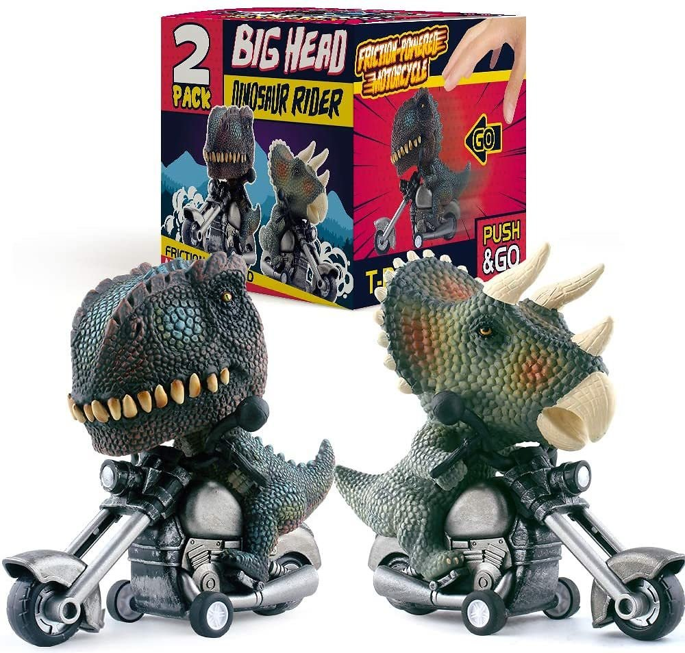 DINOBROS Dinosaur Toy Cars 2 Pack Friction Powered Motorcycle Game T-Rex and Triceratops Monster Dino Toys for Boys Age 3,4,5,6,7