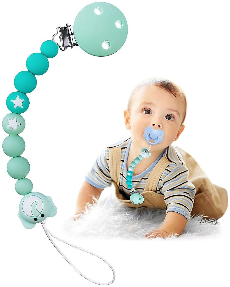 TYRY.HU Silicone Pacifier Clip Elephant Pacifier Holder Teething Binky Beads for Universal Baby Boys and Girls Pacifier/Teething Toys/Bibs/Gift Rust Proof Strong Paci Clip
