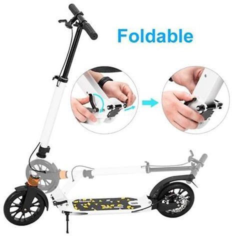Scooter For Adult & Teens, 3 Height Adjustable Easy Folding Double Shock Absorber (White)