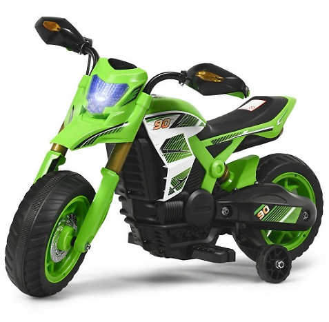 6V Electric Kids Ride-On Battery Motorcycle with Training Wheels