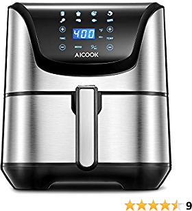 Air Fryer, AICOOK 1700W 5.8 Qt Electric Hot Oven Oilless Cooker for Roasting/Baking/Grilling/Dehydrating, 8 Presets, Precise Temperature Control, Recipe Book