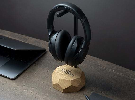 Personalized Wooden Headphone Stand, Audiophile Gift For Him Men, Engraving Groomsmen Gift, Music Lover Gift, Valentine's Day Gift for Him