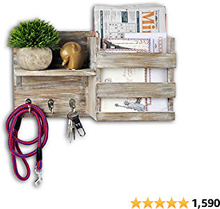 Spiretro Wall Mount Entryway Mail Envelope Organizer, Key Holder Hooks, Leash Hanging, Coat Rack, Letter & Newspaper Storage, Ornament Home Decorative Floating Shelf, Country Rustic Torched Wood-Grey