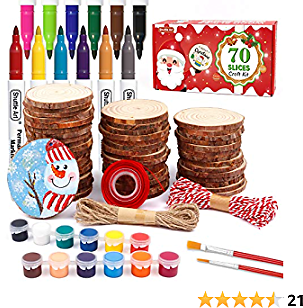 Wood Slices Kit, Shuttle Art 70 PCS 2.8-3.1 Inches Unfinished Natural Wood Circles with Pre-Drilled Hole, Acrylic Paint, Permanent Markers, DIY Art and Craft for Kids Adults Holiday Decoration