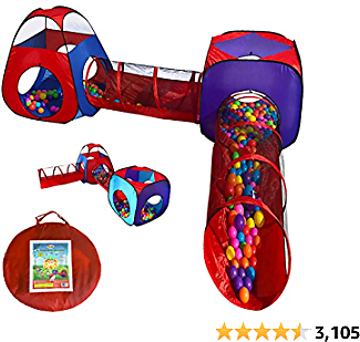 Playz 4pc Pop Up Children Play Tent w/ 2 Crawl Tunnel & 2 Tents - Kids Tents for Boys, Girls, Babies ..