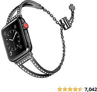 Secbolt Bling Bands Compatible with Apple Watch Band 38mm 40mm IWatch SE Series 6/5/4/3/2/1, Women Dressy Metal Jewelry Bracelet Bangle Wristband Stainless Steel, Black