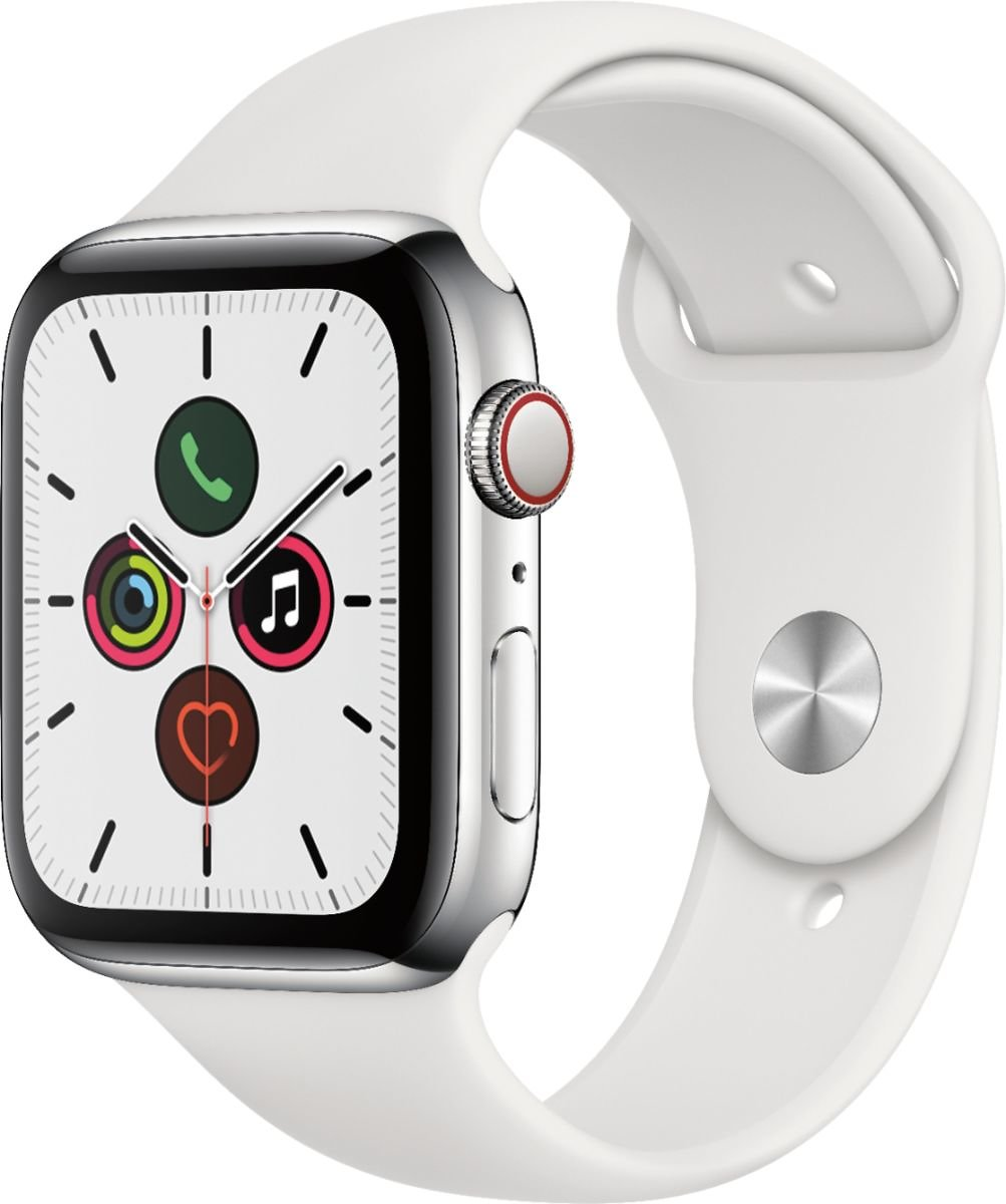 Apple Watch Series 5 (GPS + Cellular) 44mm Stainless Steel Case with White Sport Band Stainless Steel