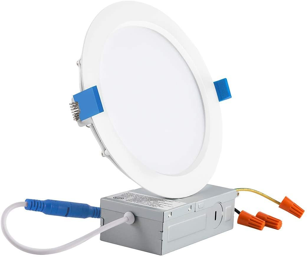 JJC 13W 6 Inch Ultra Thin Led Recessed Lights with Junction Box,3000K Warm White, CRI90+, IC Rated,850 Lumens 65W Eqv. Dimmable
