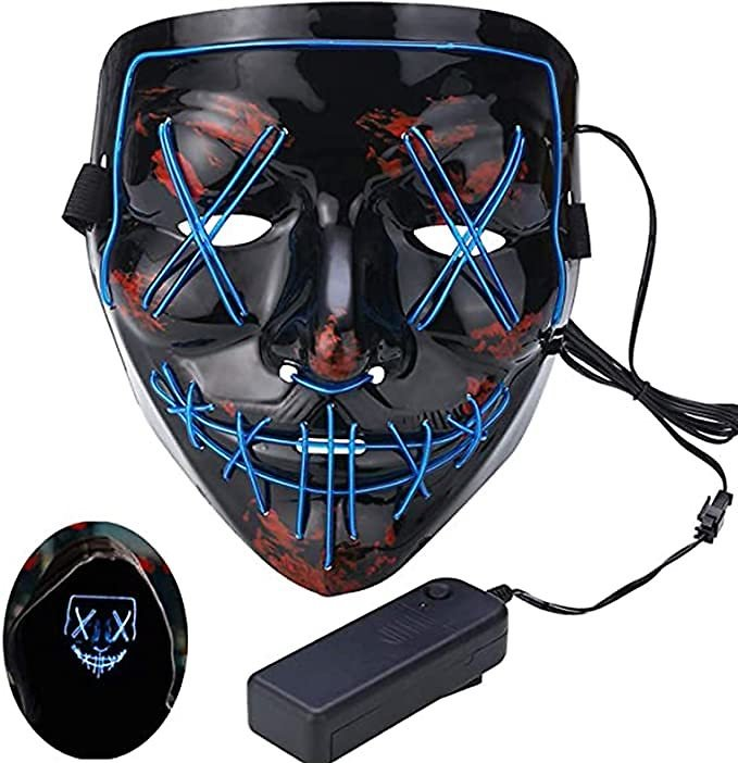 Halloween Light Up Scary Mask,Glow Purge Led Mask,Red Blue Cosplay Costume Masks for Festival Parties
