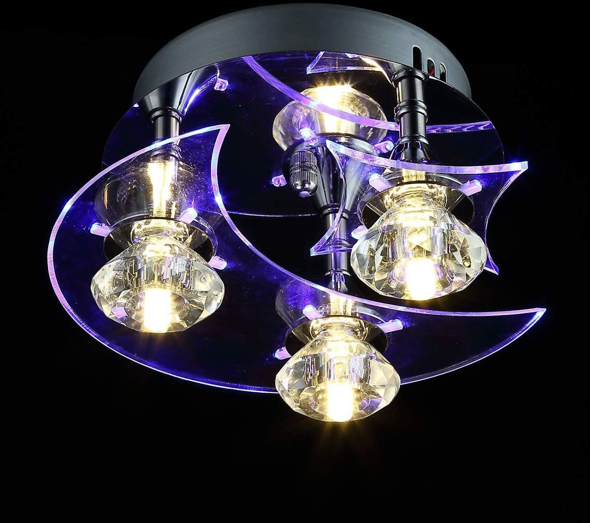 YOURDER G4 LED Acrylic Crystal Ceiling Light Fixtures - Moon Star Style, H5.5'' X W9.5'', Pendant Flush Mount Lighting for Child