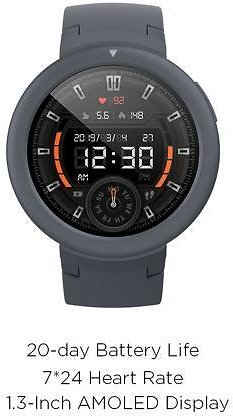 Amazfit Verge Lite with 20-Day Battery Life, 24/7 Heart Rate and Activity Tracking 1.3 Inch AMOLED Touchscreen IP68 (Gray)