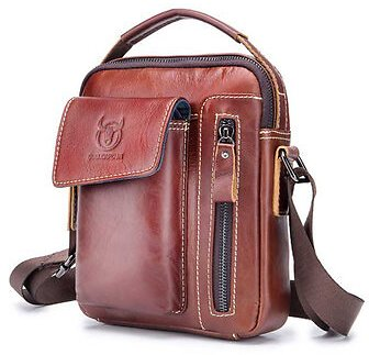 Bullcaptain, Genuine Leather Business Messenger Bag Crossbody Bag for Men
