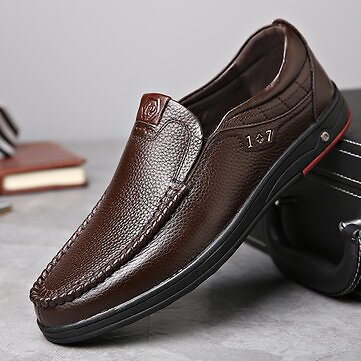 Men's Casual Comfortable Genuine Leather Moc Toe Business Slip On Oxfords