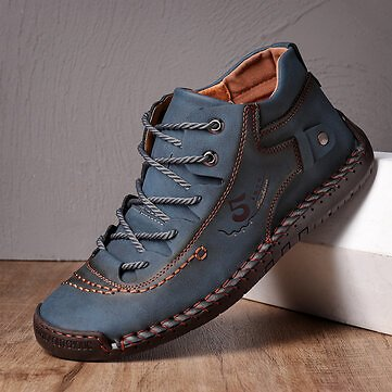 Menico, Men Hand Stitching Microfiber Leather Lace Up Comfy Soft Ankle Boots