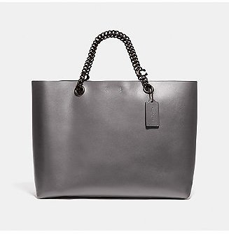 COACH Refined Calf Leather Signature Chain Convertible Tote & Reviews - Handbags & Accessories