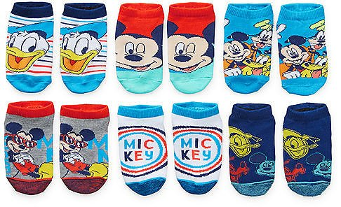 Little Boys 6 Pair Mickey Mouse No Show Socks