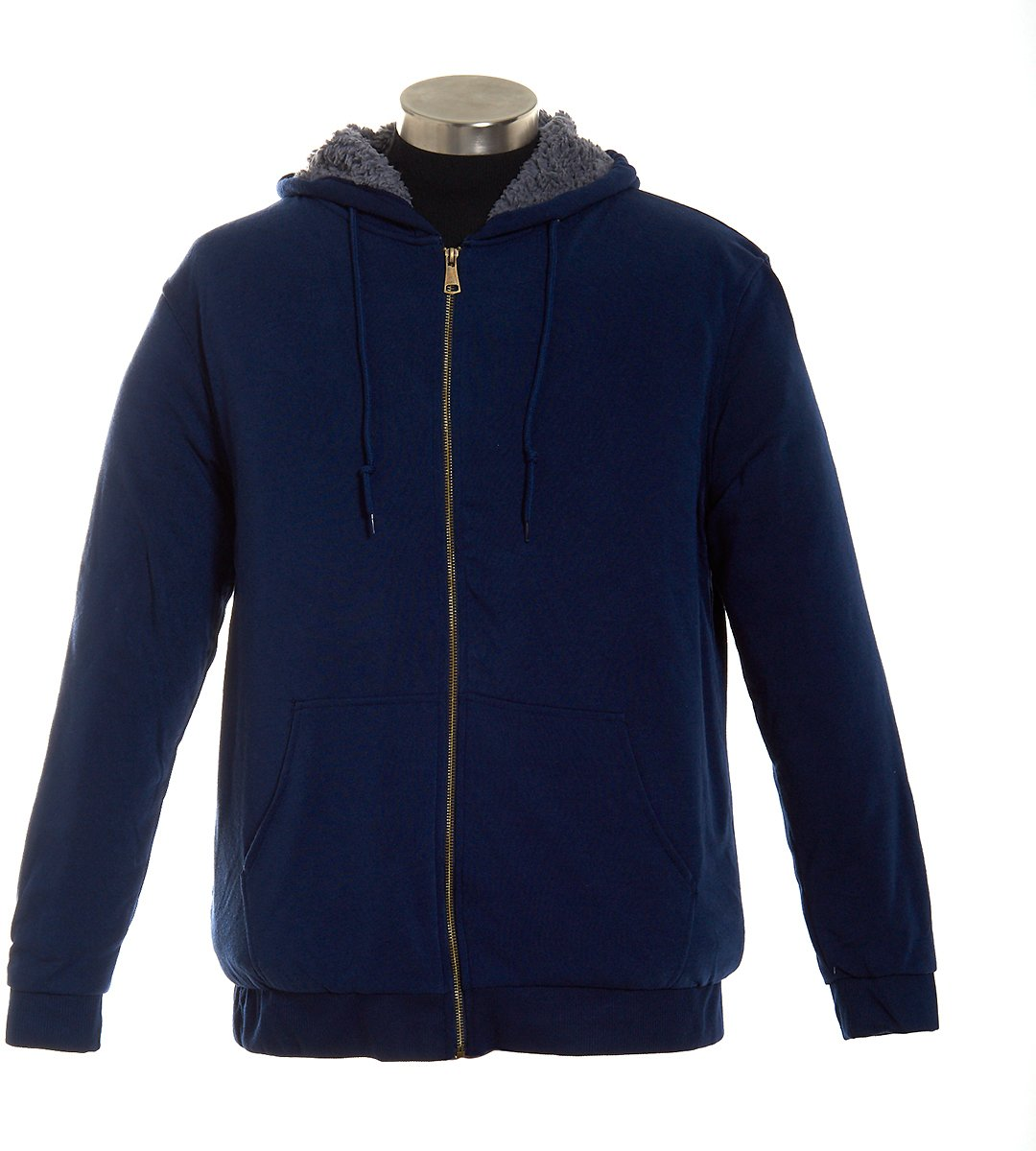 Mens Mountain Ridge® Sherpa Fleece Hooded Jacket - Navy