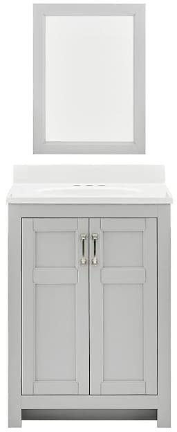 Style Selections 25-in Light Gray Single Sink Bathroom Vanity with White Acrylic Top (Mirror Included)