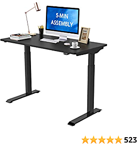Flexispot Standing Desk Electric Height Adjustable Desk Quick Install Computer Desk 48 X 24 Inches Sit Stand Desk Whole-Piece Desk Board (Black Frame + 48