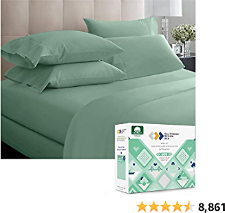 California Design Den 600 Thread Count 100% Cotton Sheets - Sage Green Extra Long-Staple Cotton King Sheets, Fits Mattress 16'' Deep Pocket, Sateen Weave, Soft Cotton 4 Piece Bed Sheets Set