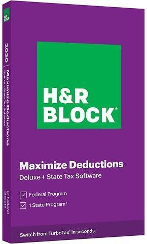 H&R BLOCK Tax Software Deluxe + State 2020 PC Windows/Mac (Key Card)