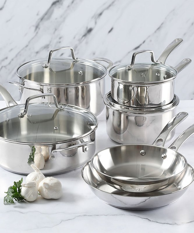 10-Pc. Polished Stainless Steel Cookware Set