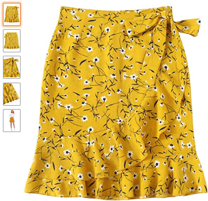 Save 65% On Mid Waist Above Knee Ruffle Hem Casual Floral Skirt with Promo Code 65IEGPIT On Amazon.com