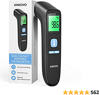 Thermometer for Adults, Non Contact Forehead Thermometer for Fever, Digital Infrared Thermometer with Fever Alarm and Sound Switch, Suitable for Adults, Kids and Baby, Indoor and Outdoor Use