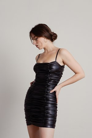 Touch My Body Black Ruched Faux Leather Bodycon Dress