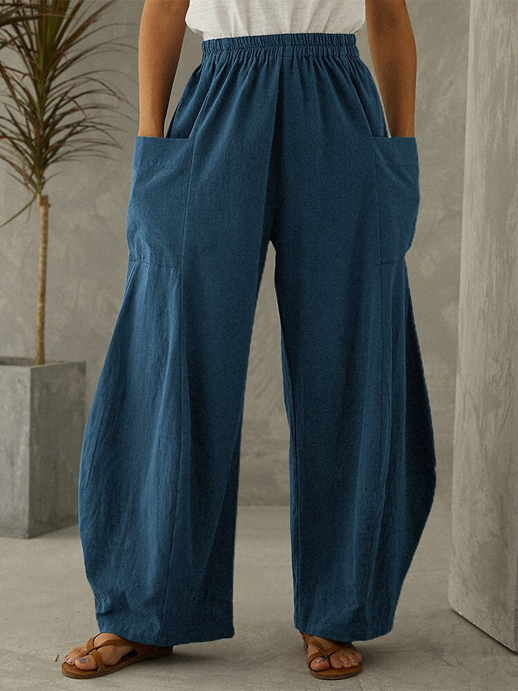 Women Solid Color 100% Cotton Elastic Waist Pant With Pocket