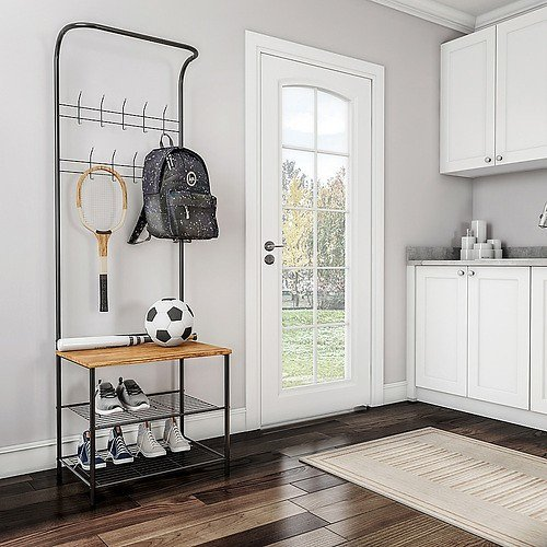 Hastings Home Entryway Storage Rack- Metal Hall Tree with Bench, Coat Hooks & Shoe Storage- Rustic Farmhouse Design Mudroom Furniture Black and Bamboo 856323MHJ