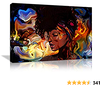 African American Women Abstract Wall Art Painting Canvas Abstract Graffiti Style Picture Wall Decor for Living Room Hippie Bedroom Bathroom Stretched and Framed Ready to Hang