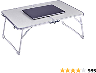 Laptop Table for Bed, RAINBEAN Foldable Breakfast Tray Portable Mini Picnic Desk Storage Space Laptop Desk Notebook Stand Reading Holder Work from Home(Silver)