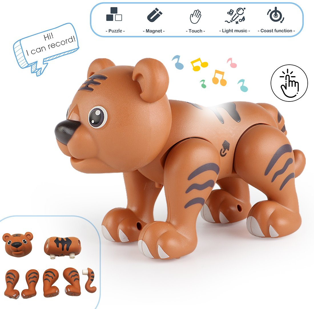 Animal Toys Magnetic Building, Touch Recording Talking Cartoon Animals with Sound Light