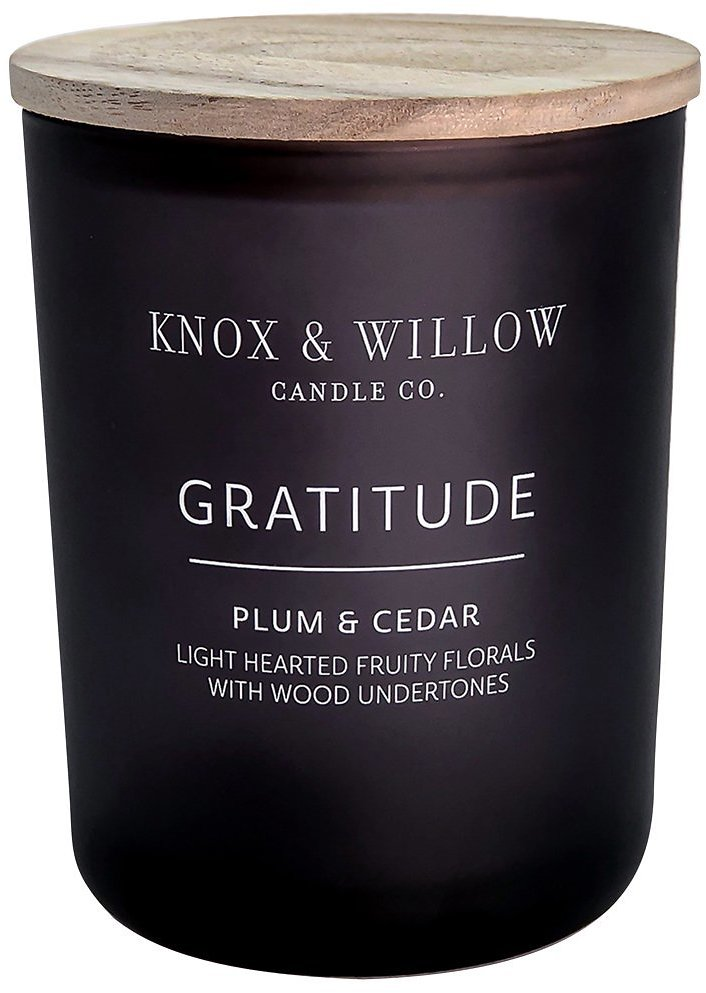 Knox & Willow 2-Wick Candle with Wooden Lid, Gratitude, Long Burning, Clean & Fragrant, Plum & Cedar Scent, 15 Oz