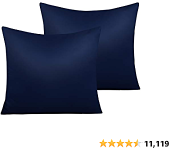 NTBAY Zippered Satin Square Throw Pillow Covers, 2 Pack Luxury Hidden Zipper Decorative Euro Pillowcases, 18 X 18 Inches, Navy Blue