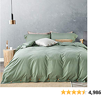 8% Off JELLYMONI Green 100% Washed Cotton Duvet Cover Set