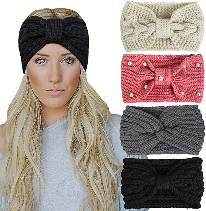 4 Pack Winter Headbands for Women