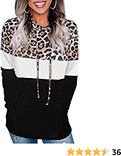 Angerella Womens Color Block Leopard Camo Patchwork Hoodie Sweatshirt Drawstring Pullover Tops with Pocket