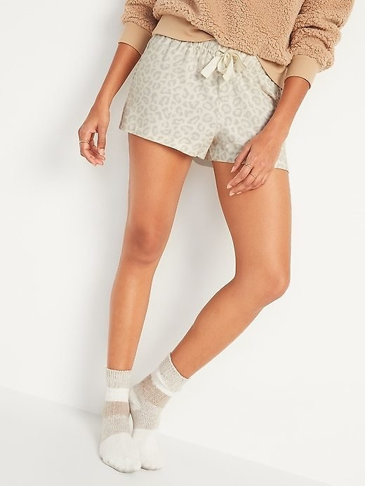 Patterned Flannel Boxer Pajama Shorts for Women