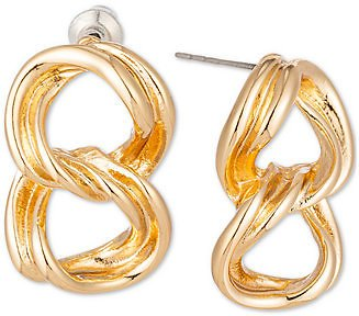 Gold-Tone Wavy Circle Double Drop Earrings, Created for Macy's