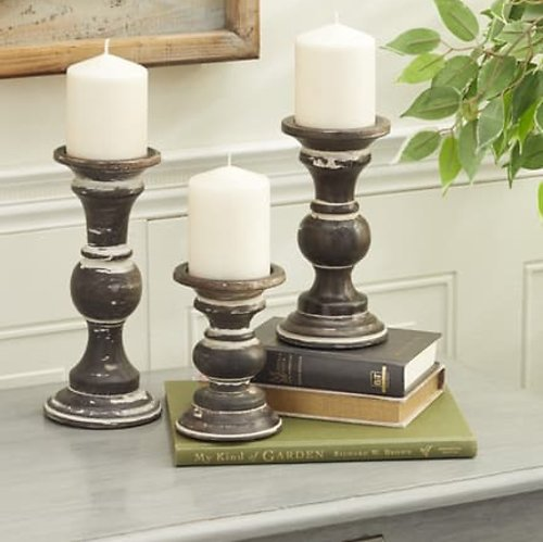 Willow Row Mango Wood Country Cottage Candle Holder (Set of 3)