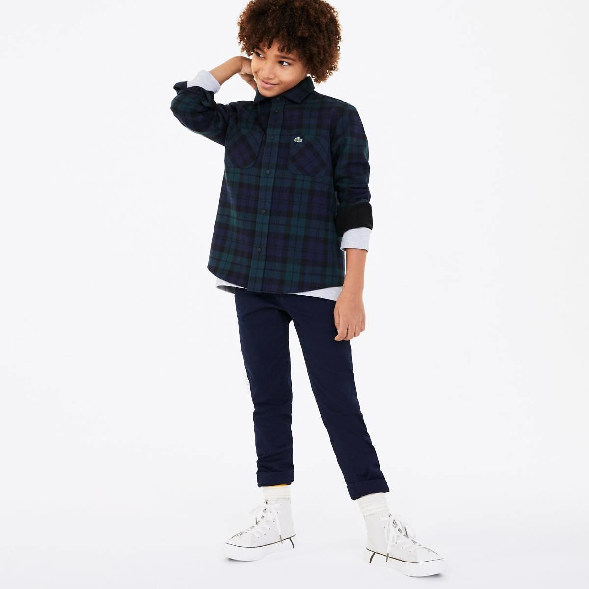 Boys' Classic Fit Checked Cotton Flannel Shirt
