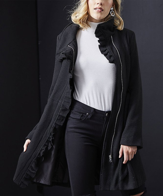 Black Ruffle-Accent Belted Trench Coat - Women & Plus