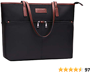 FINMOR Laptop-Bag-for-Women-15.6 Inch Multi Pockets Lightweight Nylon Teacher-Bag Office Work-Tote-Bags,Large Padded School Laptop Purse Computer-Bags-for-Women,Black