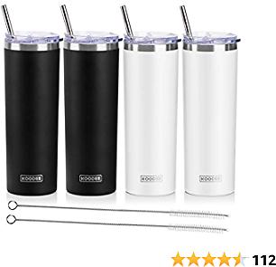 Koodee 20 Oz Stainless Steel Skinny Tumbler(4 Pack) Double Wall Insulated Water Tumbler Cup with 4 Lids, 4 Straws and 2 Straw Brushes(Black/2 Pack, White/2 Pack)